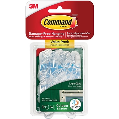 Command™ Outdoor Light Clips, Clear, 16/Pack