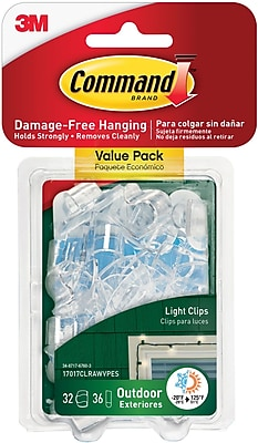 Command™ Outdoor Light Clips, Clear, 16/Pack (17017CLR-AWES)