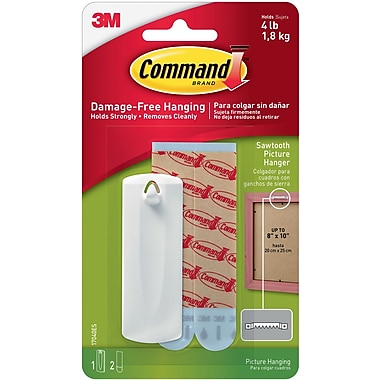 Command™ Sawtooth Picture Hanger, White