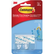 Command™ Clear Small Hooks, Clear, 2/Pack
