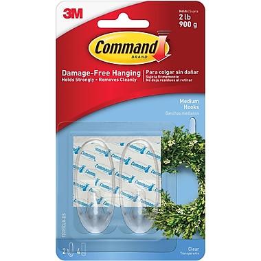 Command™ Clear Medium Hooks, Clear, 2/Pack