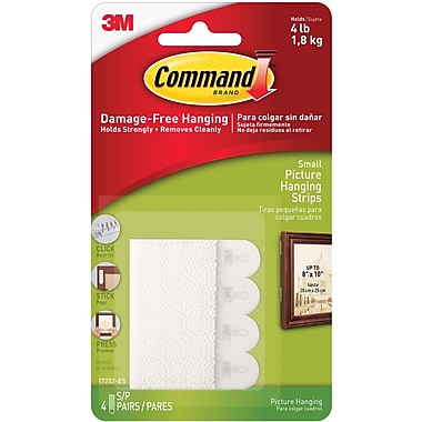 Command™ Small Picture Hanging Strips, White, 4/Pack