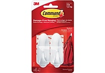 Command™ Medium Designer Hooks, White, 2/Pack