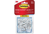 Command™ Clear Small Wire Hooks, Clear, 9/Pack