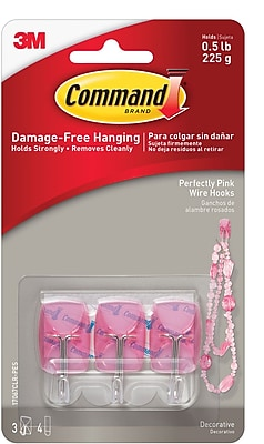 Command™ Small Wire Hooks, Pink, 3/Pack (17067CLR-PES)