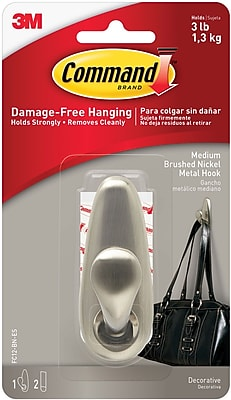Command™ Medium Metal Hook, Brushed Nickel, Each (FC12-BN-ES)