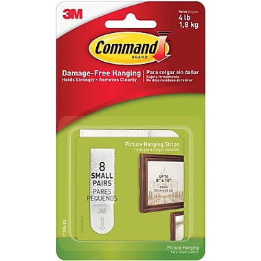 Command™ Small Picture Hanging Strips, White, 8/Pack