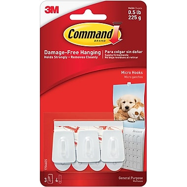 Command™ Micro Hooks, White, 3/Pack