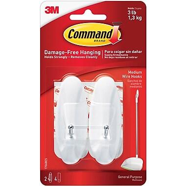 Command™ Medium Wire Hooks, White, 2/Pack