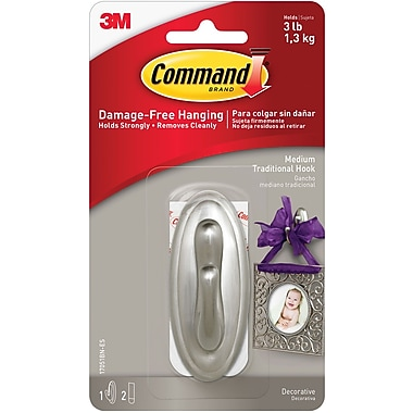Command™ Medium Traditional Hook, Brushed Nickel