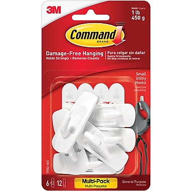 Command™ Small Utility Hooks Value Pack, White, 6/Pack (17002-6ES)