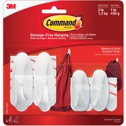 Command™ Small and Medium Designer Hooks Value Pack, White, 2 Small and 2 Medium/Pack (17081-2VPES)