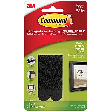 Command™ Medium Picture Hanging Strips, Black, 4/Pack