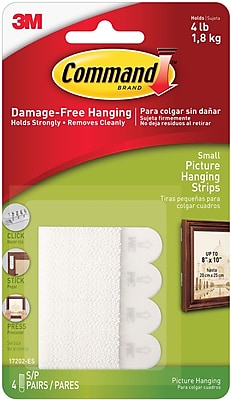Command™ Small Picture Hanging Strips, White, 4 Pairs/Pack (17202ES)
