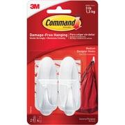 Command™ Medium Designer Hooks, White, 2/Pack (17081ES)