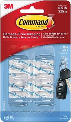Command™ Mini Hooks, Clear, 6/Pack (17006CLR-ES)