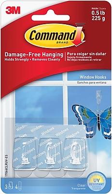 Command™ Mini Window Hooks, Clear, 3/Pack (17066CLRUV-ES)