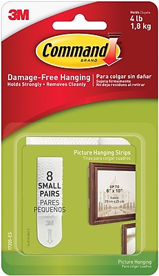 Command™ Small Picture Hanging Strips, White, 8 Pairs/Pack (17205-ES)
