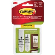 Command™ Small and Medium Picture Hanging Strips, White, 4 Small Pairs and 8 Medium Pairs/Pack (17203-ES)