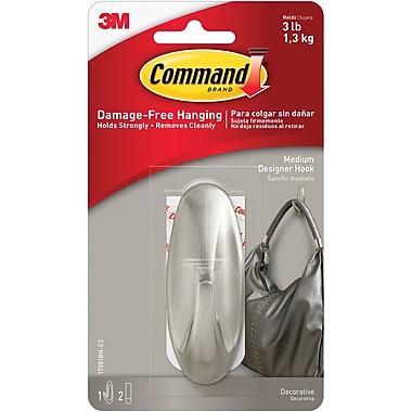 Command™ Medium Designer Hooks, Brushed Nickel, 1/Pack