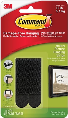 Command™ Medium Picture Hanging Strips, Black, 4 Pairs/Pack (17201BLK-ES)