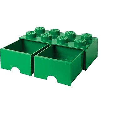LEGO Storage Brick 8, Drawer, Dark Green (40067134),Size: small