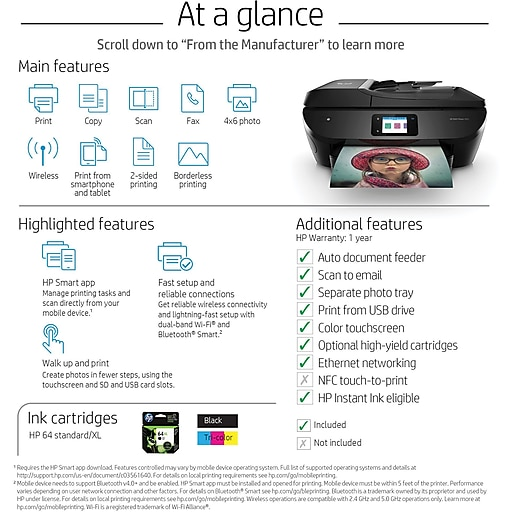 HP ENVY Photo 7855 All-In-One Photo Printer with Wireless and Mobile  Printing, Instant Ink Ready (K7R96A)