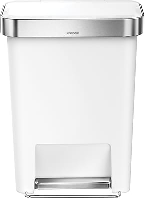 simplehuman® Rectangular Step Trash Can with Liner Pocket, White, 12 Gallon