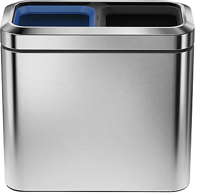 simplehuman® Slim Open Recycler, Brushed Stainless Steel, 5.25 Gallon