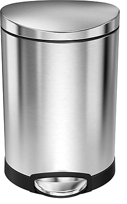 simplehuman® Mini Semi-Round Step Trash Can, Stainless Steel, 1.6 Gallon