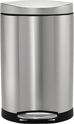 simplehuman® Semi-Round Step Trash Can, Stainless Steel, 2.6 Gallon