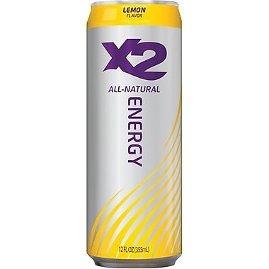 X2 All Natural Energy Drink, 12 oz. Cans, 12/Pack