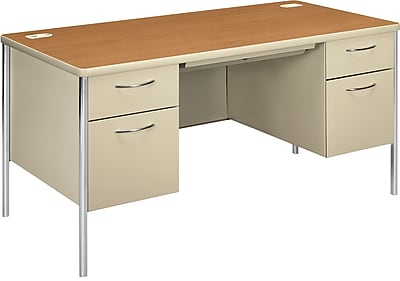 HON Mentor Double Pedestal Desk, 2 Box/2 File Drawers, Chrome Legs, 60