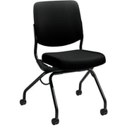 HON Perpetual Upholstered Back Nesting Chair, Flex Motion, Casters, Black Frame, Black Fabric NEXT2018 NEXTExpress