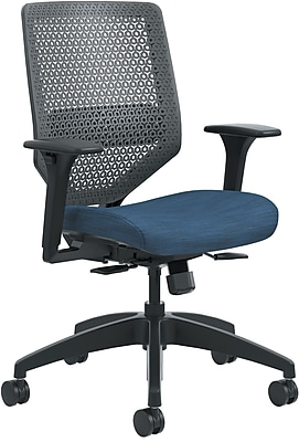 HON Solve ReActiv Back Fabric/Mesh Mid-Back Task Chair, Charcoal/Midnight Seat Fabric (HONSVR1ACLC90TK)