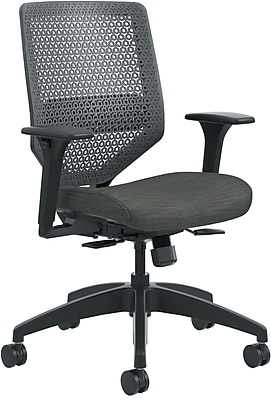 HON Solve Mid-Back Task Chair, Charcoal ReActiv Back, Black Frame, Easy Assembly, Ink Seat Fabric NEXT2018 NEXT2Day