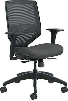 HON Solve Mid-Back Task Chair, Black ilira-Stretch Mesh Back, Black Frame, Easy Assembly, Ink Seat Fabric NEXT2018 NEXT2Day