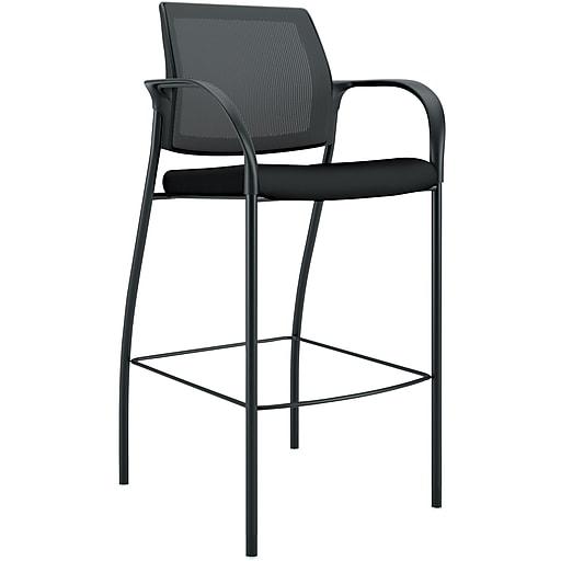 HON Ignition ilira-Stretch Mesh/Fabric Cafe-Height 4-Leg Stool, Fixed Arms, Black NEXTExpress NEXT2019