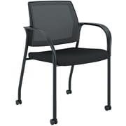 HON Ignition ilira-Stretch Mesh/Fabric Multi-Purpose Stacking Chair, 4-Leg, Fixed Arms, Black NEXT2018 NEXT2Day