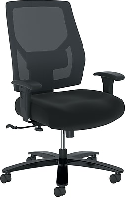 HON Crio Fabric/Mesh Big And Tall Chair, Adjustable Arms, Black (BSXVL585ES10T)