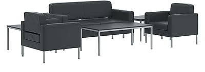 HON Corral Contemporary Lounge with Tables, Black Leather, Black NEXT2018 NEXTExpress