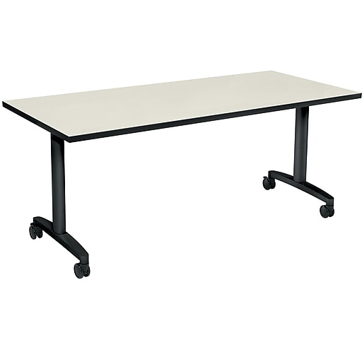 "HON Huddle Table, Fixed Base, Silver Mesh Laminate, 72""W (HONHUD3072FXB9)"