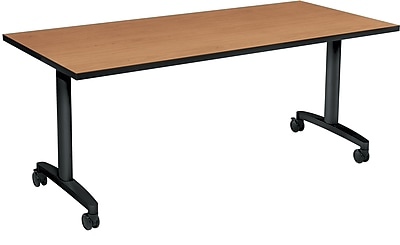 HON Huddle Table, Flip Base, Harvest Laminate, 72