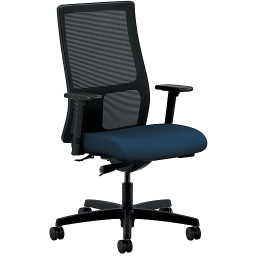 HON Ignition ilira-Stretch Mesh/Fabric Mid-Back Task Chair, Height- and Width-Adjustable Arms, Black/Navy (HONIW103CU98)