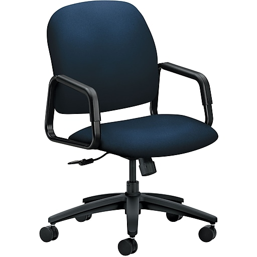 HON Solutions Seating Fabric High-Back Executive Chair, Navy, Fixed Arms (HON4001CU98T)
