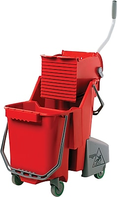 Unger® Side-Press Restroom Mop Bucket Combo, Plastic, Red, 8 gallon