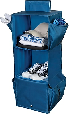 Honey Can Do Back to School 3-Shelf Hanging Organizer, Blue Flannel (BTS-01833)