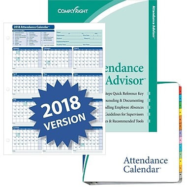 ComplyRight™ 2018 Attendance Calendar Kit, White, Pack of 50