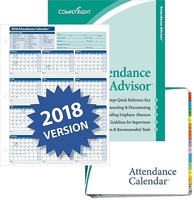 ComplyRight™ 2018 Attendance Calendar Kit, White, Pack of 50 (A1411W16PK50)