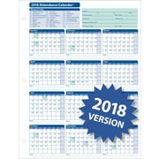 ComplyRight™ 2018 Attendance Calendar Card, White, Pack of 50